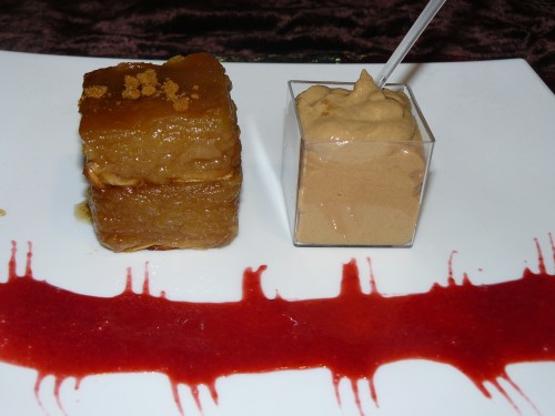 fondant,pomme,crme,tofu soyeux,spculoos,caramel,caf